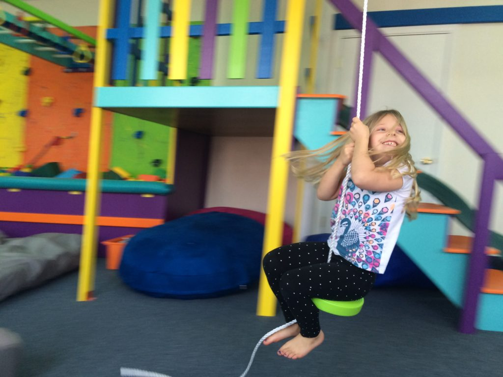 Great Kids Place zip line in our state of the art sensory gym